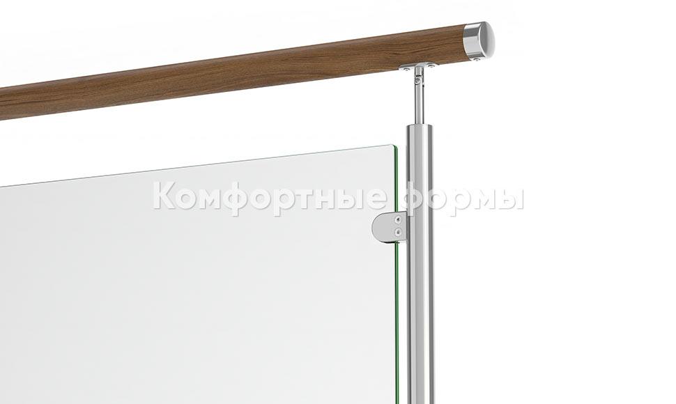 ограждение из нержавеющей стали со стеклом и деревянным поручнем