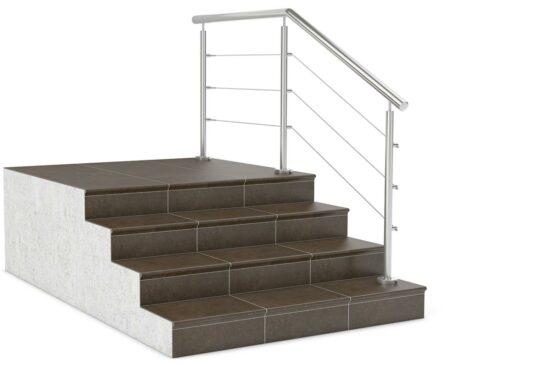 Ограждение лестницы с тросами